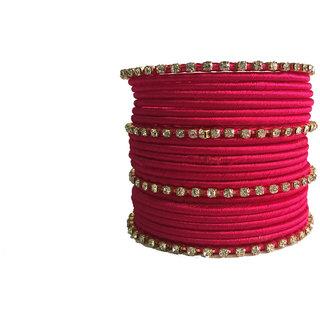 Kuhuk Multi Color Silk Thread Plastic Bangle Set PIY0267