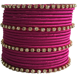 Kuhuk Multi Color Silk Thread Plastic Bangle Set PIY0268