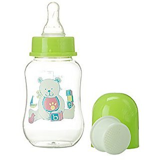 Abstract 6 Oz. Baby Feeding Bottle with Cover and Strainer (green)