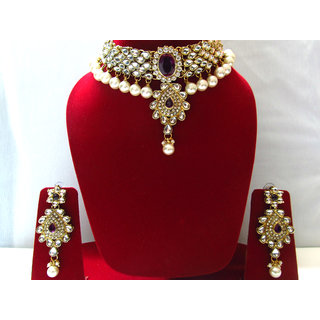 Kundan Jewellery Set In Purple Stones With Earings And Maang Tikka