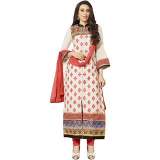 Sareemall Off-White Embroidred Semi-stitched suit with Matching Dupatta ZBK6851