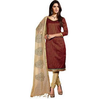 Sareemall Brown Chudidar Dress material with Matching Dupatta SGNC180