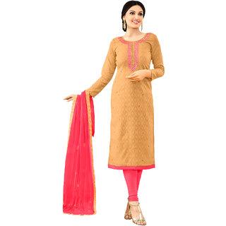 Sareemall Beige Dress Material With Matching Dupatta SKI1004