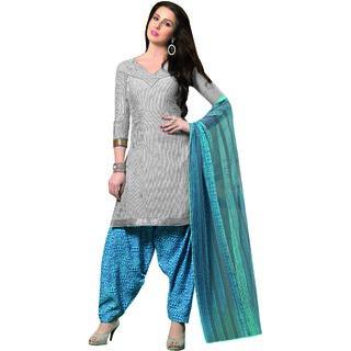 Sareemall White Dress Material with Matching Dupatta 3FLP2030