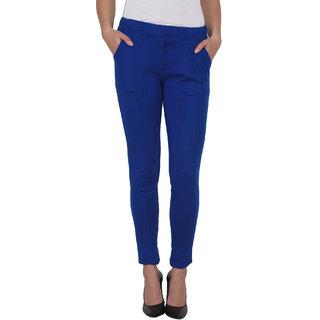 NumBrave Blue Slim Fit Plain Womens Formal Trousers