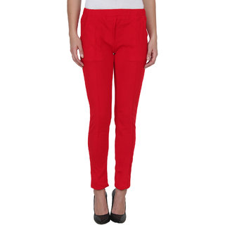 NumBrave Red Slim Fit Plain Womens Formal Trousers