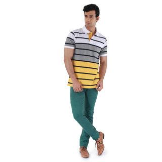 Mudo In Vogue Yellow & Grey Printed Round Neck Tshirt