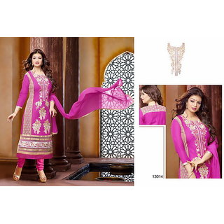 Purple Cotton With Embroidery Designer Salwar suits Dress Meterial