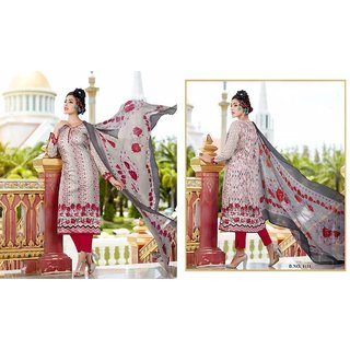 Red and Gray Glace Satin cotton Pakistani Printed Salwar Kameer with Printed work