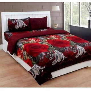 Home Diva Polycotton Multicolor 3D Printed Double  Bed Sheet With 2 Pillow Covers- (HDB015)