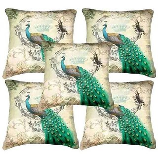 Home Diva Multicolor Polyester Digital print Cushion Covers Set of 5- (HDCC016)