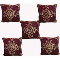 Hard Rock Set Of 5 Designer Velvet Cushion Cover-brown