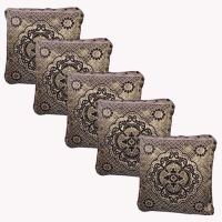 Hard Rock Set Of 5 Designer Velvet Cushion Cover-golden - 3533308
