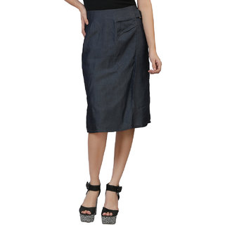 MansiCollections A-line Blue Plain Womens Skirt