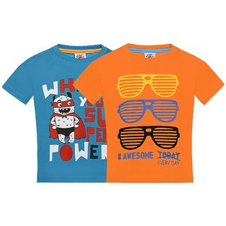 Punkster 100 Cotton Multicolor Round Neck T-Shirt For Boys4589HS-2