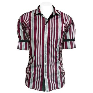 Cairon Smart Maroon Stripe Smart Formal Shirt