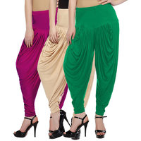 Fashion And Freedom Women's Pack of 3 Magenta, Cream And Green Lycra Base Vis...