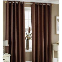 Hard Rock Set Of 2 Attractive Plain Eyelet Door Curtain-brown