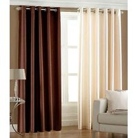 Hard Rock Set Of 1 Cream & 1 Brown Plain Eyelet Door Curtain