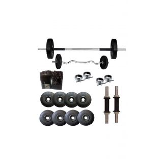 GYMNASE SUPER QUALITY 16KG WEIGHT PLATES WITH 3FT ZIGZAG ROD[FREE HAND GLOVES + SKIPPING ROPE] + 4FT PLAIN ROD+GYM ACCESSORIES