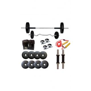 34KG HOME GYM SET WITH 3FT ZIGZAG RODFREE HAND GLOVES + SKIPPING ROPE + 5FT PLAIN ROD+DUMBBELLS ROD+  BY GYMNASE