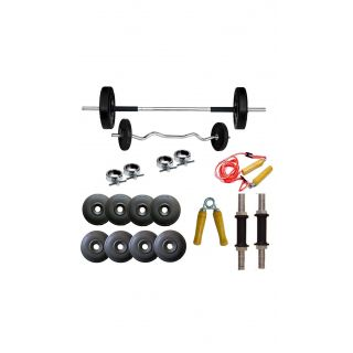 GYMNASE 18KG HOME GYM SET WITH 3FT ZIGZAG ROD[FREE HAND GRIPPER+ SKIPPING ROPE] + 5FT PLAIN ROD+GYM ACCESSORIES