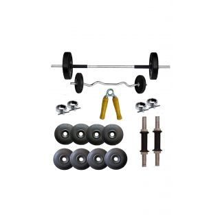 64KG HOME GYM SET WITH 3FT ZIGZAG ROD{FREE HAND GRIPPER}+ 4FT PLAIN ROD+DUMBBELLS ROD+  BY GYMNASE