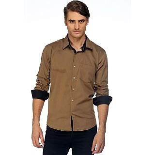 Cairon Nifty Brown Solid Herringbone Casual Shirt