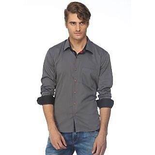 Cairon Sleek Grey Solid Herringbone Casual Shirt