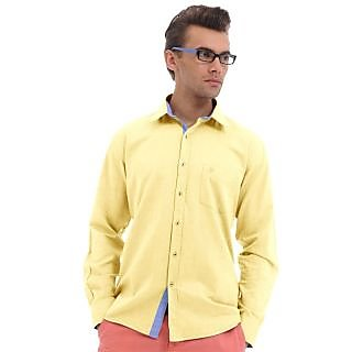 Cairon Swank Yellow Solid Oxford Casual Shirt
