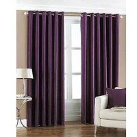 Hard Rock Pack Of 2 Purple Plain Eyelet Door Curtain