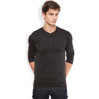 Highlander Black Henley Long Sleeve Tshirt For Men