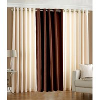 Combo Pack Of 2 Cream & 1 Brown Plain Eyelet Door Curtain