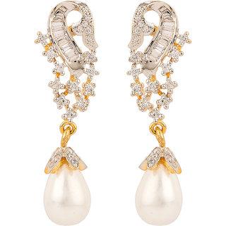 Rajwada Arts American Diamond Pearl Drop Earrings