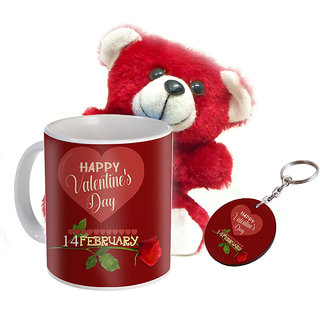 Sky Trends Valentine Combo Gift Set Soft Teddy Printed Coffee Mug Keychain Amazing Gift Valentine Week For Wife Husband Boyfriend Friend Girlfriend STg-011