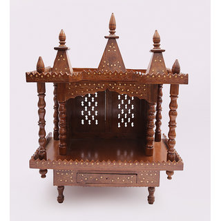 Shilpi Brown Sheesham Wood Exquisite Temple / Mandir / Puja Esstential / Wooden Mandir - (NSHC0192)