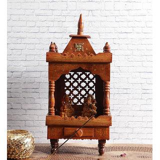 Shilpi Brown Sheesham Wood Exquisite Temple / Mandir / Puja Esstential / Wooden Mandir - (NSHC0050)