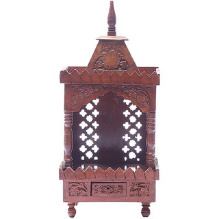 Shilpi Brown Sheesham Wood Exquisite Temple / Mandir / Puja Esstential / Wooden Mandir - (NSHC0048)