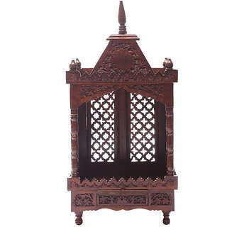 Shilpi Brown Sheesham Wood Exquisite Temple / Mandir / Puja Esstential / Wooden Mandir - (NSHC0051)