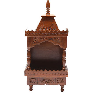 Shilpi Brown Sheesham Wood Exquisite Temple / Mandir / Puja Esstential / Wooden Mandir - (NSHC0046)