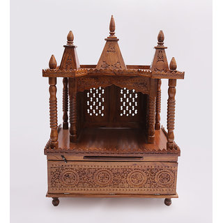 Shilpi Brown Sheesham Wood Exquisite Temple / Mandir / Puja Esstential / Wooden Mandir - (NSHC0195)