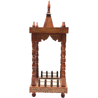 Shilpi Brown Sheesham Wood Exquisite Temple / Mandir / Puja Esstential / Wooden Mandir - (NSHC0072)