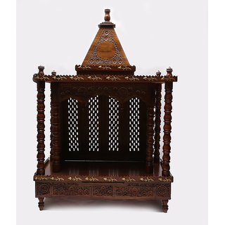Shilpi Brown Sheesham Wood Exquisite Temple / Mandir / Puja Esstential / Wooden Mandir - (NSHC0068)
