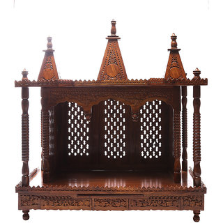 Shilpi Brown Sheesham Wood Exquisite Temple / Mandir / Puja Esstential / Wooden Mandir - (NSHC0065)