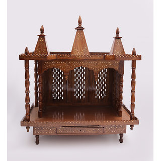 Shilpi Brown Sheesham Wood Exquisite Temple / Mandir / Puja Esstential / Wooden Mandir - (NSHC0194)