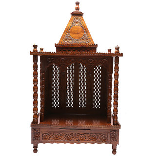 Shilpi Brown Sheesham Wood Exquisite Temple / Mandir / Puja Esstential / Wooden Mandir - (NSHC0069)