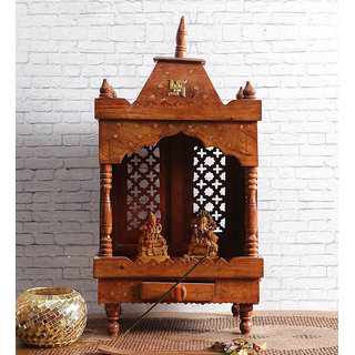 Shilpi Brown Sheesham Wood Exquisite Temple / Mandir / Puja Esstential / Wooden Mandir - (NSHC0054)