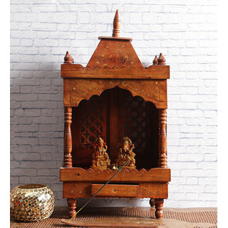 Shilpi Brown Sheesham Wood Exquisite Temple / Mandir / Puja Esstential / Wooden Mandir - (NSHC0056)