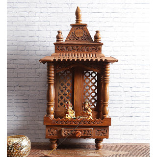 Shilpi Brown Sheesham Wood Exquisite Temple / Mandir / Puja Esstential / Wooden Mandir - (NSHC0055)