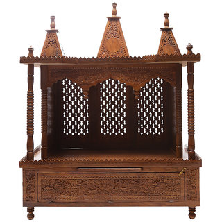 Shilpi Brown Sheesham Wood Exquisite Temple / Mandir / Puja Esstential / Wooden Mandir - (NSHC0067)